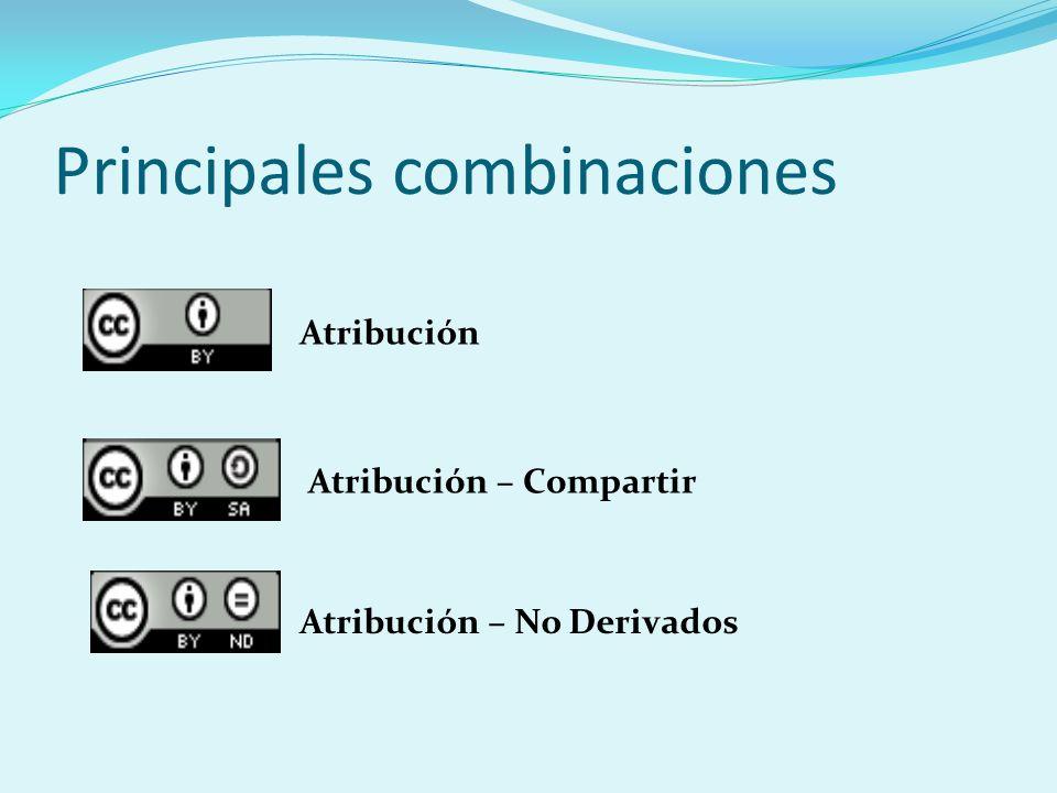 Principales combinaciones Atribución Atribución – Compartir Atribución – No Derivados
