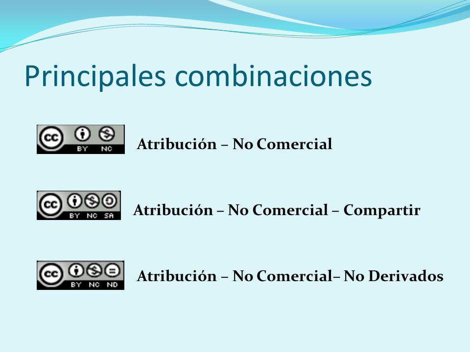 Principales combinaciones Atribución – No Comercial– No Derivados Atribución – No Comercial – Compartir Atribución – No Comercial