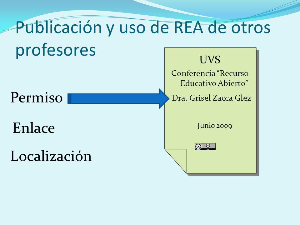 Publicación y uso de REA de otros profesores UVS Conferencia Recurso Educativo Abierto UVS Conferencia Recurso Educativo Abierto Dra.