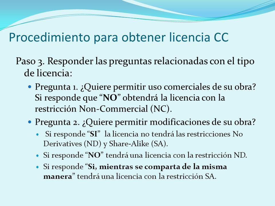 Procedimiento para obtener licencia CC Paso 3.
