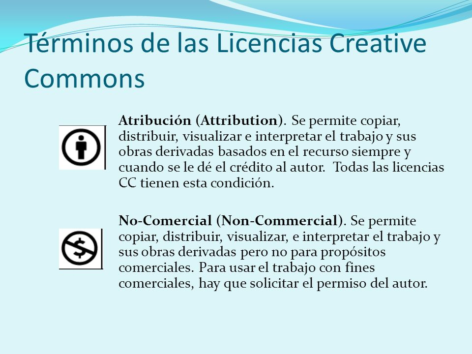 Términos de las Licencias Creative Commons Atribución (Attribution).
