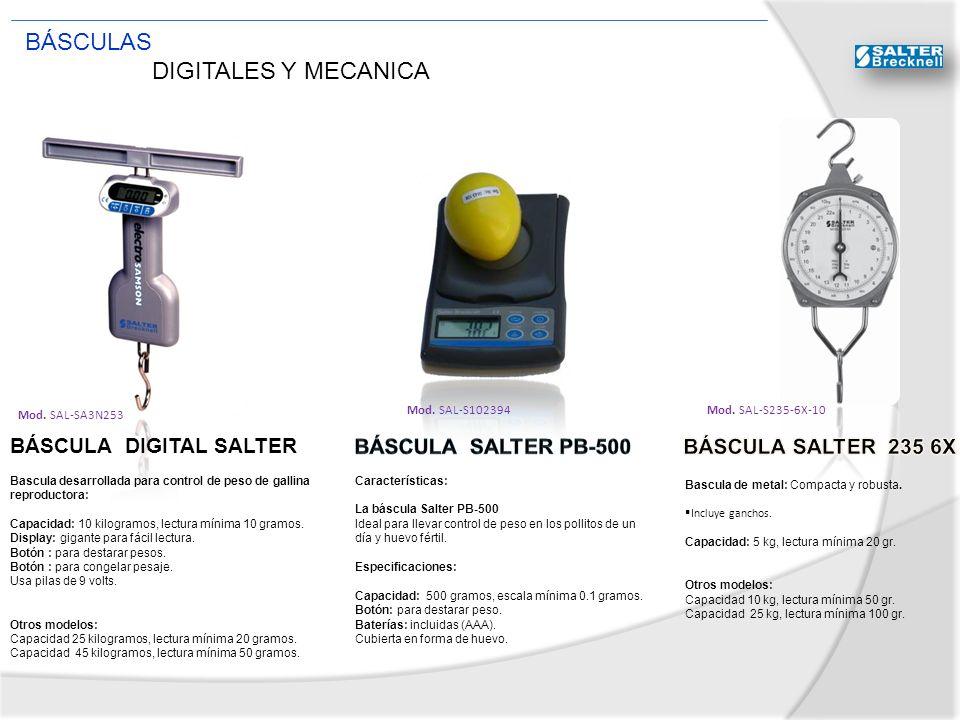 BÁSCULA DIGITAL SALTER Mod. SAL-SA3N253 Bascula desarrollada para control de peso de gallina reproductora: Capacidad: 10 kilogramos, lectura mínima 10