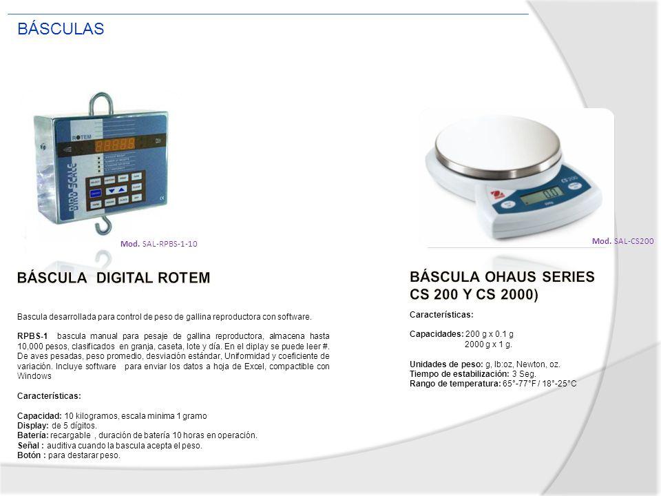 Mod. SAL-RPBS-1-10 Bascula desarrollada para control de peso de gallina reproductora con software. RPBS-1 bascula manual para pesaje de gallina reprod
