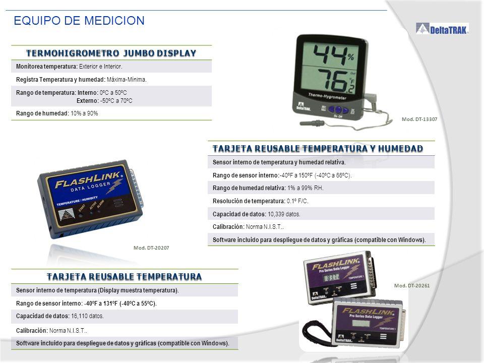 EQUIPO DE MEDICION TERMOHIGROMETRO JUMBO DISPLAY Monitorea temperatura: Exterior e Interior. Registra Temperatura y humedad: Máxima-Mínima. Rango de t