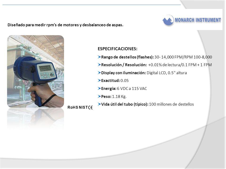 ESPECIFICACIONES: Rango de destellos (flashes): 30- 14,000 FPM/RPM 100-8,000 Resolución / Resolución: +0.01% de lectura/0.1 FPM + 1 FPM Display con il