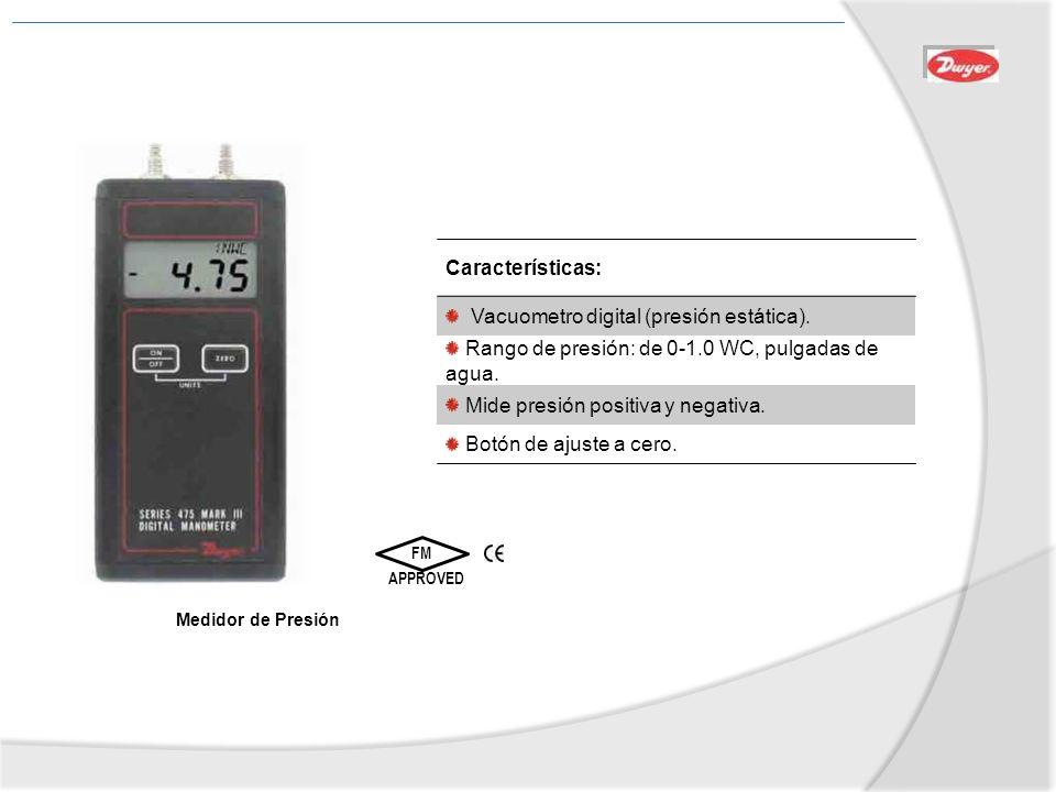 Medidor de Presión FM APPROVED Características: Vacuometro digital (presión estática). Rango de presión: de 0-1.0 WC, pulgadas de agua. Mide presión p