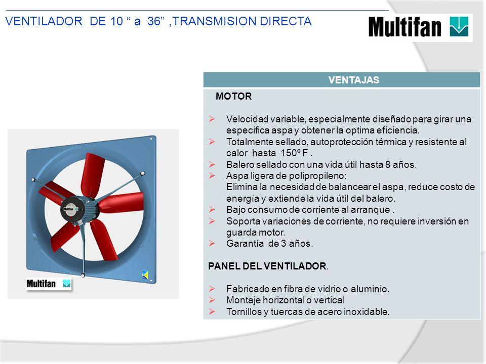 VENTAJAS MOTOR Velocidad variable, especialmente diseñado para girar una especifica aspa y obtener la optima eficiencia. Totalmente sellado, autoprote