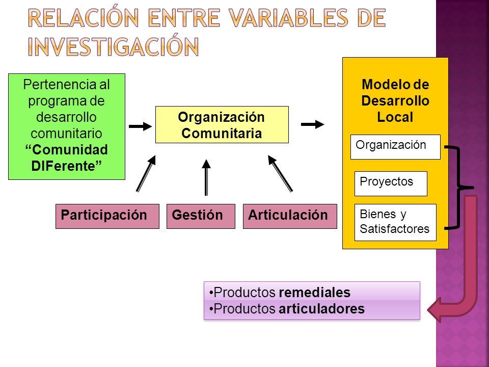 Pertenencia al programa de desarrollo comunitario Comunidad DIFerente Modelo de Desarrollo Local Participación Organización Comunitaria GestiónArticulación Organización Proyectos Bienes y Satisfactores Productos remediales Productos articuladores Productos remediales Productos articuladores