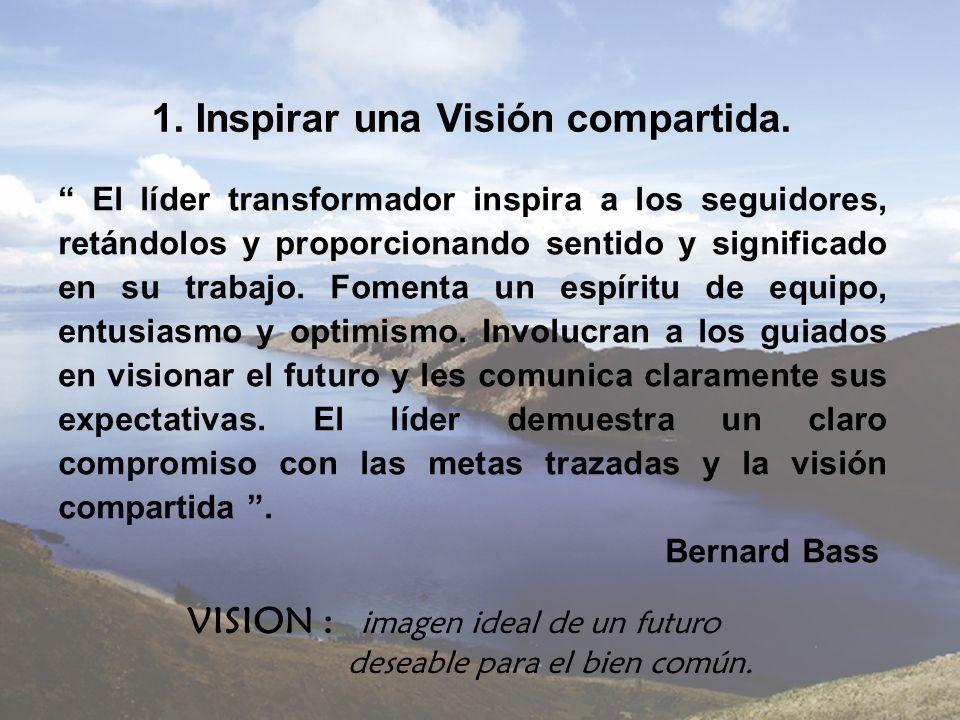 1. Inspirar una Visión compartida. El líder transformador inspira a los seguidores, retándolos y proporcionando sentido y significado en su trabajo. F