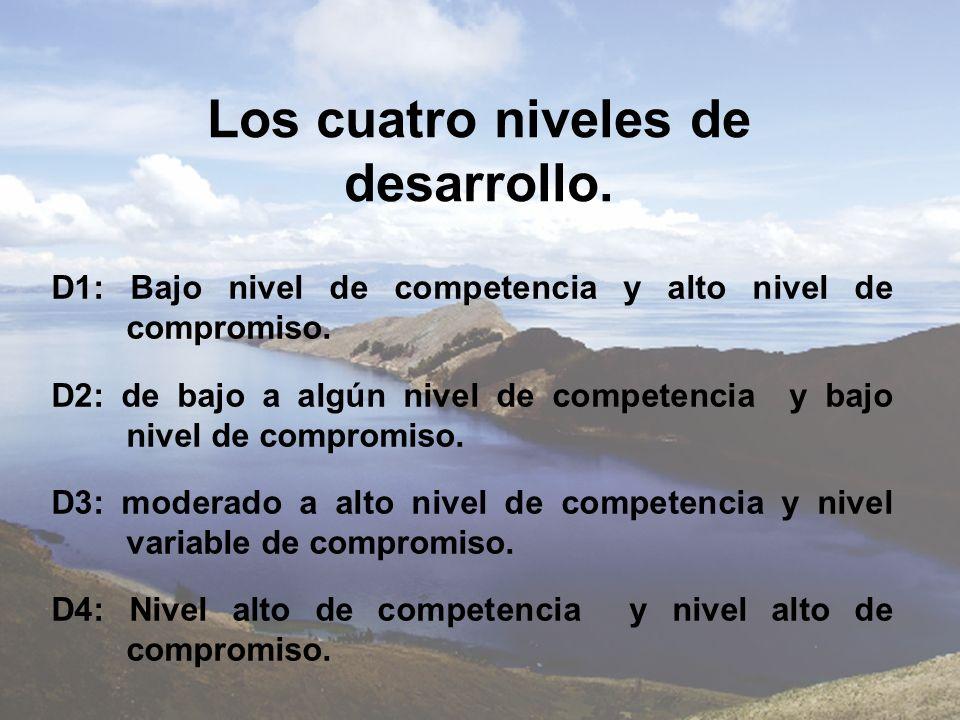 Los cuatro niveles de desarrollo. D1: Bajo nivel de competencia y alto nivel de compromiso. D2: de bajo a algún nivel de competencia y bajo nivel de c