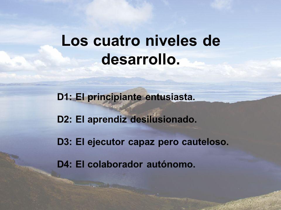 Los cuatro niveles de desarrollo. D1: El principiante entusiasta. D2: El aprendiz desilusionado. D3: El ejecutor capaz pero cauteloso. D4: El colabora