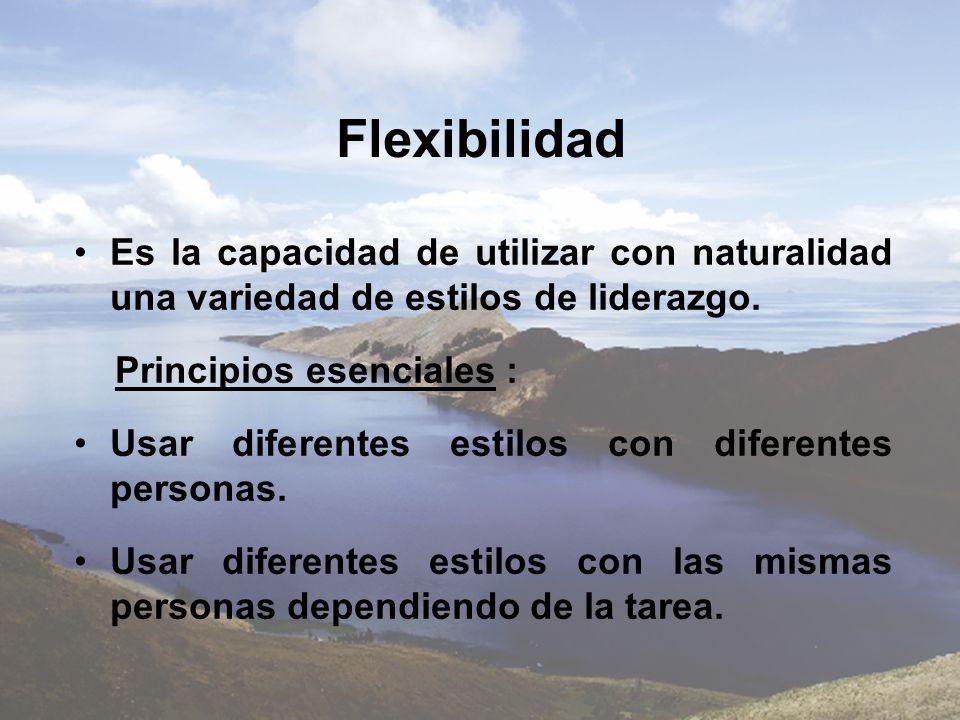 Flexibilidad Es la capacidad de utilizar con naturalidad una variedad de estilos de liderazgo. Principios esenciales : Usar diferentes estilos con dif
