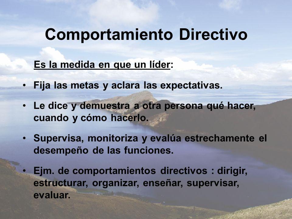 Comportamiento Directivo Es la medida en que un líder: Fija las metas y aclara las expectativas. Le dice y demuestra a otra persona qué hacer, cuando