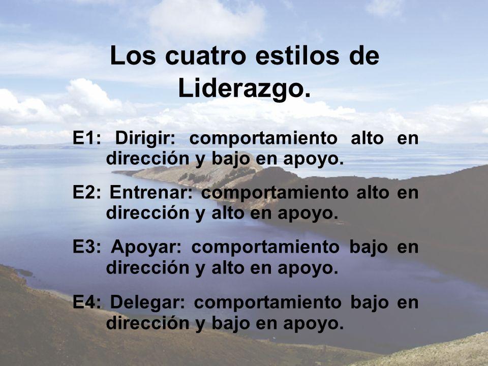 Los cuatro estilos de Liderazgo. E1: Dirigir: comportamiento alto en dirección y bajo en apoyo. E2: Entrenar: comportamiento alto en dirección y alto