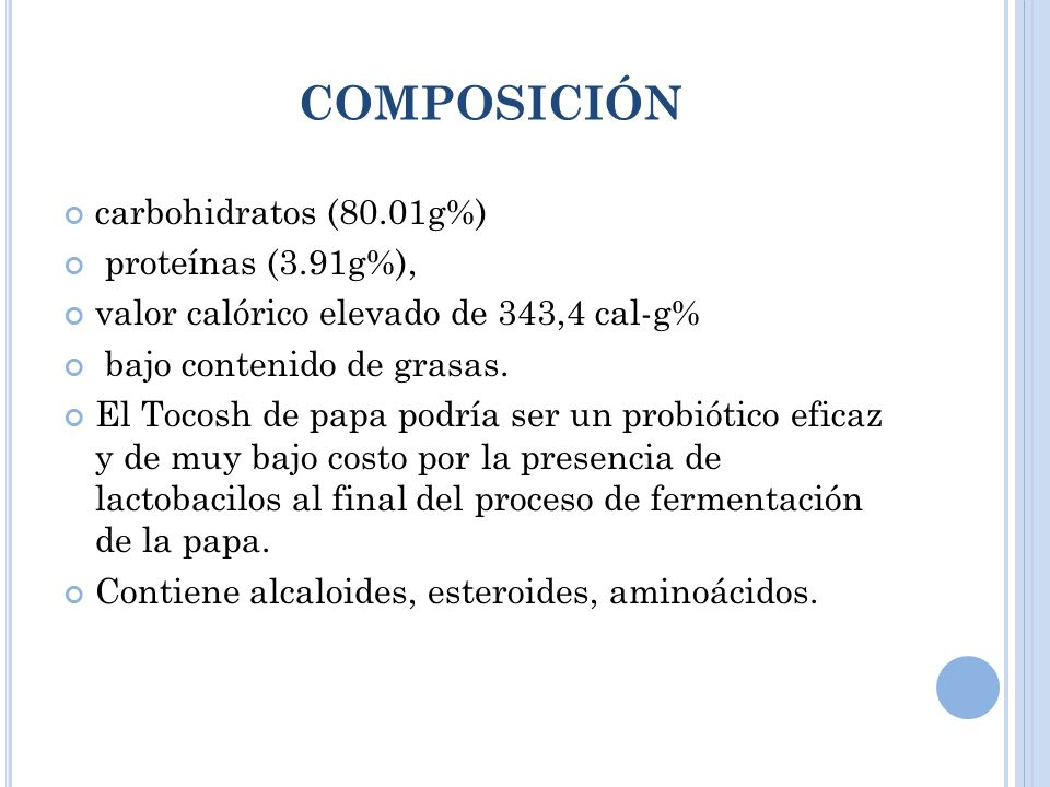 COMPOSICIÓN carbohidratos (80.01g%) proteínas (3.91g%), valor calórico elevado de 343,4 cal-g% bajo contenido de grasas.