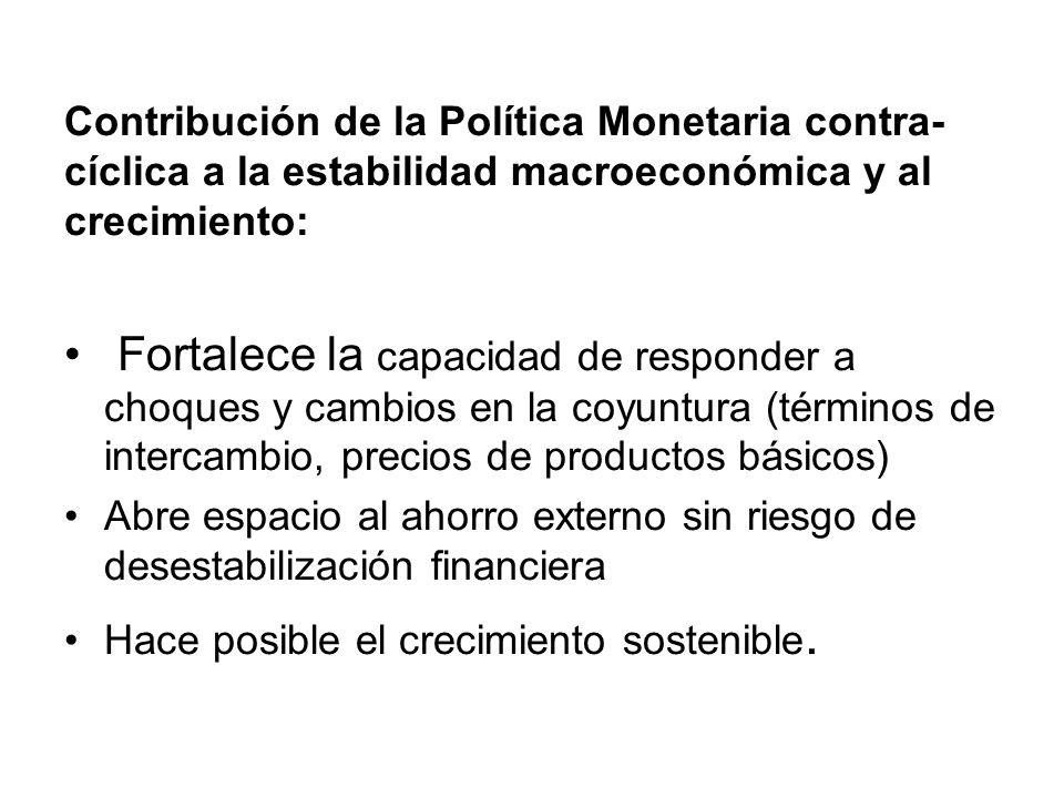 Un ancla nominal creíble, permite: - Una política monetaria contracíclica: subir o bajar las tasas sin afectar la estabilidad (400 pb en 2006; 550 pb