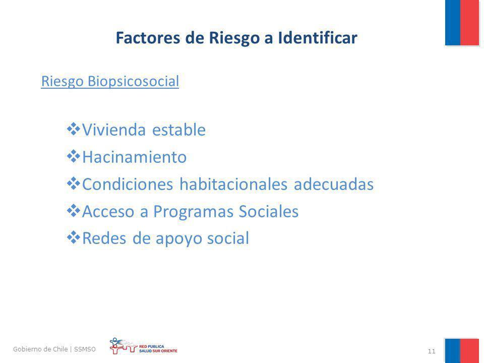 11 Gobierno de Chile | SSMSO Factores de Riesgo a Identificar Riesgo Biopsicosocial Vivienda estable Hacinamiento Condiciones habitacionales adecuadas