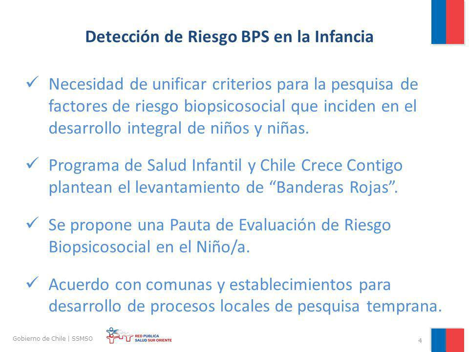 4 Gobierno de Chile | SSMSO Detección de Riesgo BPS en la Infancia Necesidad de unificar criterios para la pesquisa de factores de riesgo biopsicosoci