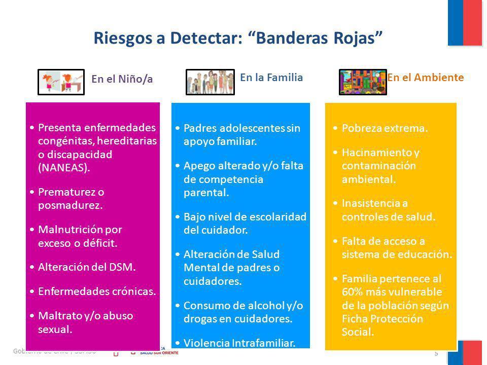 5 Gobierno de Chile | SSMSO Riesgos a Detectar: Banderas Rojas En el Niño/a Presenta enfermedades congénitas, hereditarias o discapacidad (NANEAS). Pr