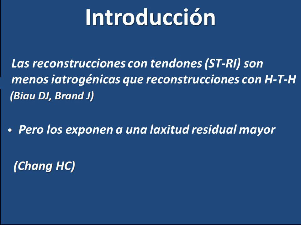 Introducción Las reconstrucciones con tendones (ST-RI) son menos iatrogénicas que reconstrucciones con H-T-H Pero los exponen a una laxitud residual m