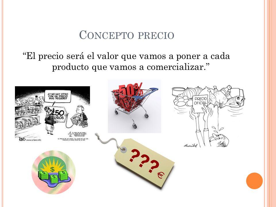 C ONCEPTO PRECIO El precio será el valor que vamos a poner a cada producto que vamos a comercializar.