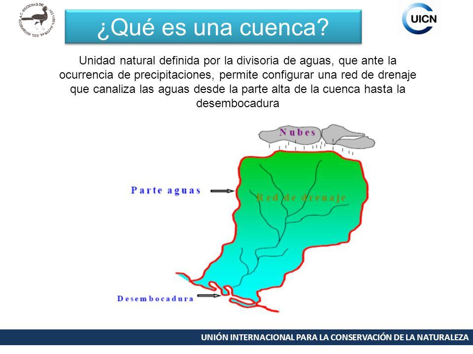 UNIÓN INTERNACIONAL PARA LA CONSERVACIÓN DE LA NATURALEZA ¿Qué es una cuenca? Unidad natural definida por la divisoria de aguas, que ante la ocurrenci