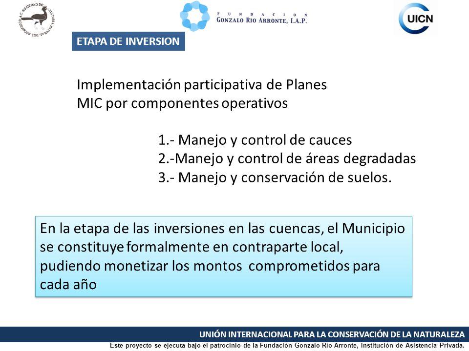 UNIÓN INTERNACIONAL PARA LA CONSERVACIÓN DE LA NATURALEZA Implementación participativa de Planes MIC por componentes operativos ETAPA DE INVERSION En