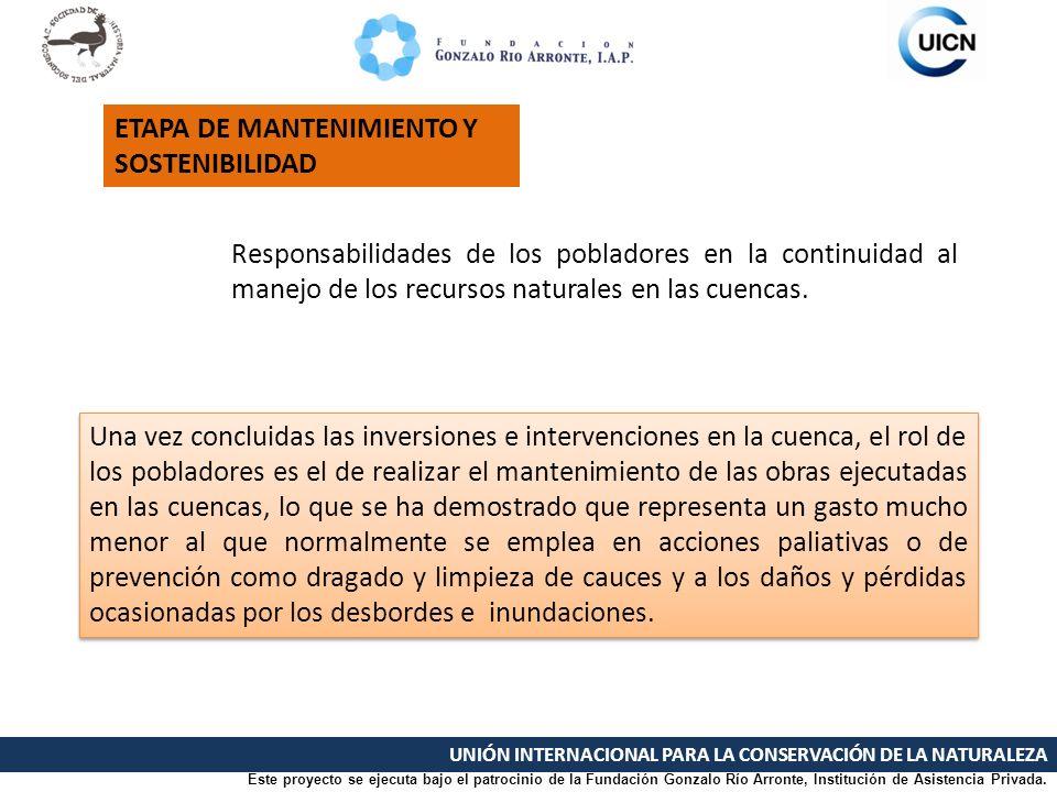 UNIÓN INTERNACIONAL PARA LA CONSERVACIÓN DE LA NATURALEZA Responsabilidades de los pobladores en la continuidad al manejo de los recursos naturales en