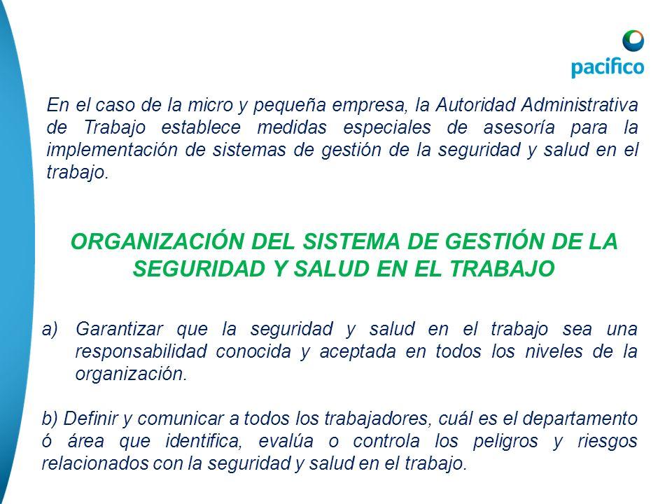 En el caso de la micro y pequeña empresa, la Autoridad Administrativa de Trabajo establece medidas especiales de asesoría para la implementación de si