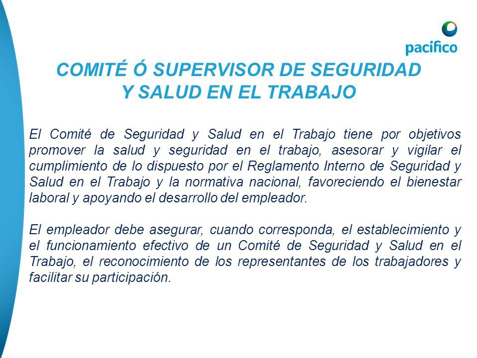 COMITÉ Ó SUPERVISOR DE SEGURIDAD Y SALUD EN EL TRABAJO El Comité de Seguridad y Salud en el Trabajo tiene por objetivos promover la salud y seguridad