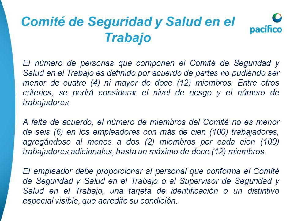 Comité de Seguridad y Salud en el Trabajo El número de personas que componen el Comité de Seguridad y Salud en el Trabajo es definido por acuerdo de p