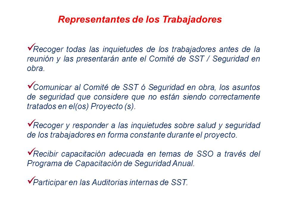 Recoger todas las inquietudes de los trabajadores antes de la reunión y las presentarán ante el Comité de SST / Seguridad en obra. Comunicar al Comité