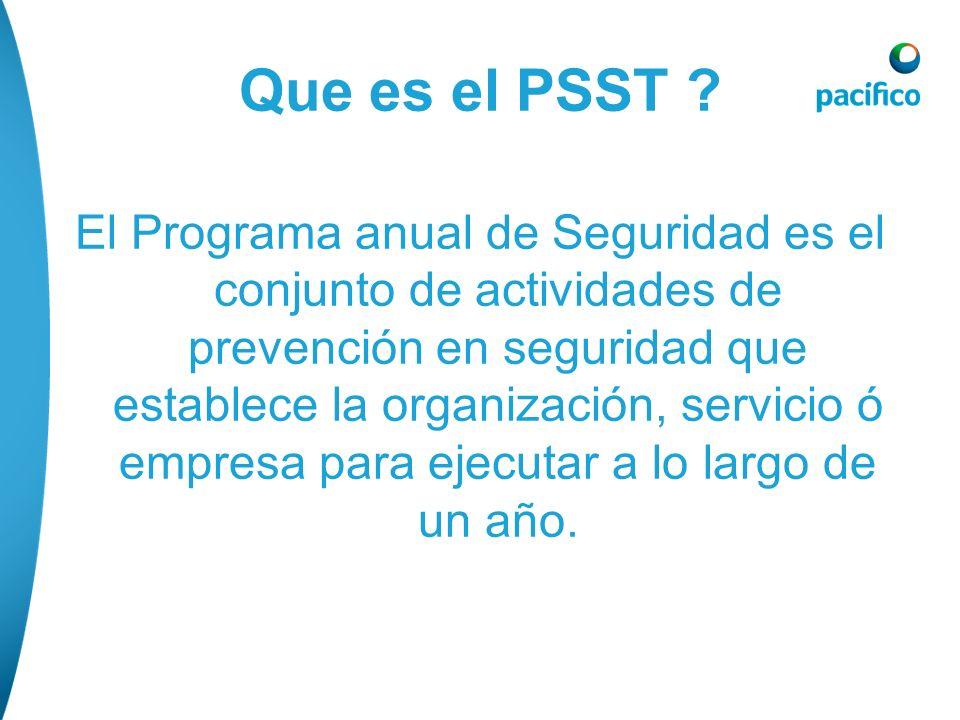 Que es el PSST ? El Programa anual de Seguridad es el conjunto de actividades de prevención en seguridad que establece la organización, servicio ó emp