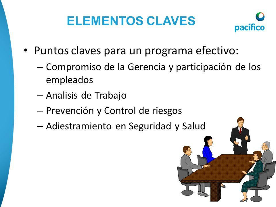 ELEMENTOS CLAVES Puntos claves para un programa efectivo: – Compromiso de la Gerencia y participación de los empleados – Analisis de Trabajo – Prevenc