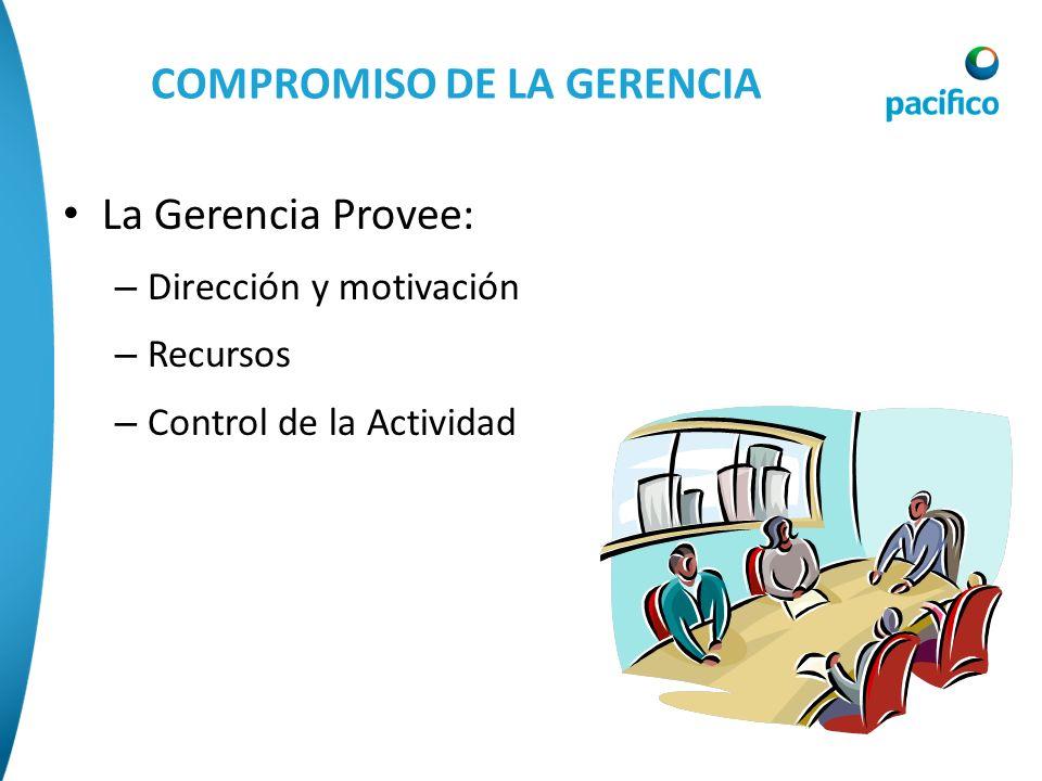 COMPROMISO DE LA GERENCIA La Gerencia Provee: – Dirección y motivación – Recursos – Control de la Actividad
