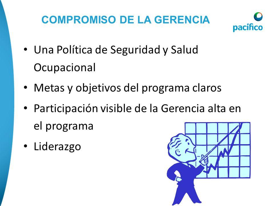 COMPROMISO DE LA GERENCIA Una Política de Seguridad y Salud Ocupacional Metas y objetivos del programa claros Participación visible de la Gerencia alt
