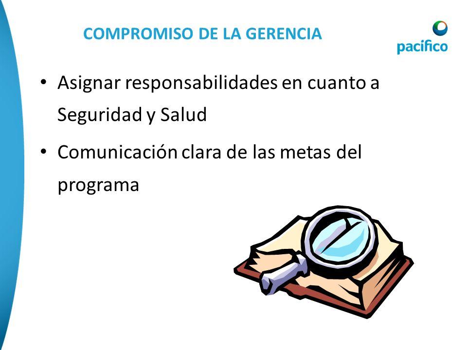 COMPROMISO DE LA GERENCIA Asignar responsabilidades en cuanto a Seguridad y Salud Comunicación clara de las metas del programa