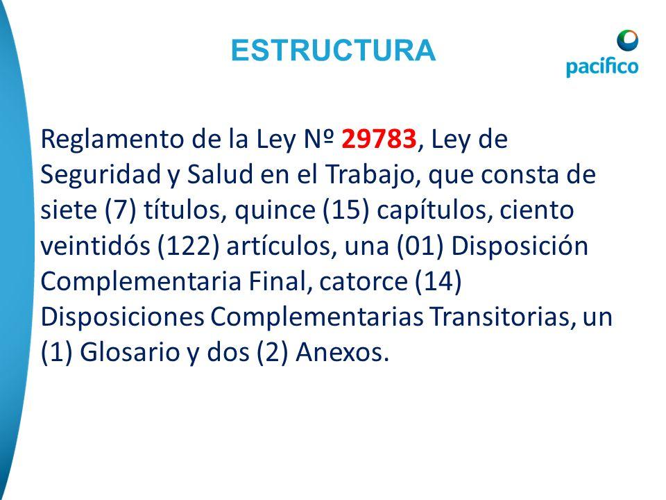 ESTRUCTURA Reglamento de la Ley Nº 29783, Ley de Seguridad y Salud en el Trabajo, que consta de siete (7) títulos, quince (15) capítulos, ciento veint