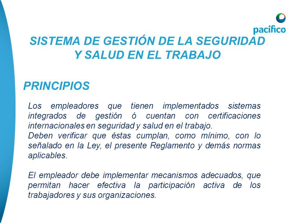 SISTEMA DE GESTIÓN DE LA SEGURIDAD Y SALUD EN EL TRABAJO PRINCIPIOS Los empleadores que tienen implementados sistemas integrados de gestión ó cuentan