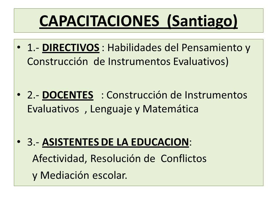 CAPACITACIONES (Santiago) 1.- DIRECTIVOS : Habilidades del Pensamiento y Construcción de Instrumentos Evaluativos) 2.- DOCENTES : Construcción de Inst