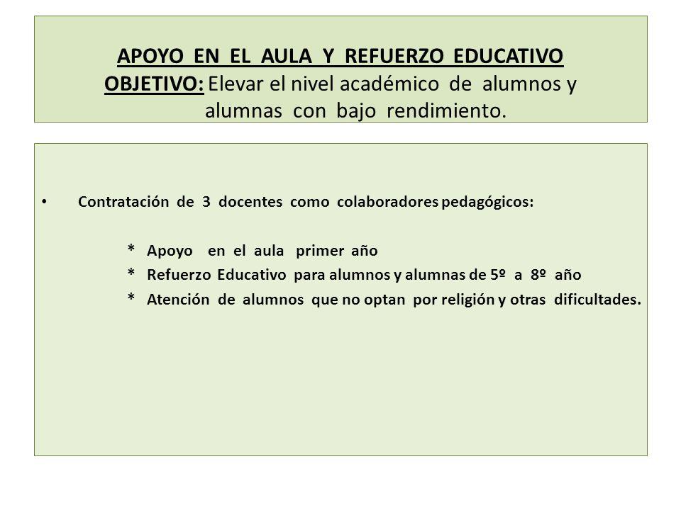 APOYO EN EL AULA Y REFUERZO EDUCATIVO OBJETIVO: Elevar el nivel académico de alumnos y alumnas con bajo rendimiento.