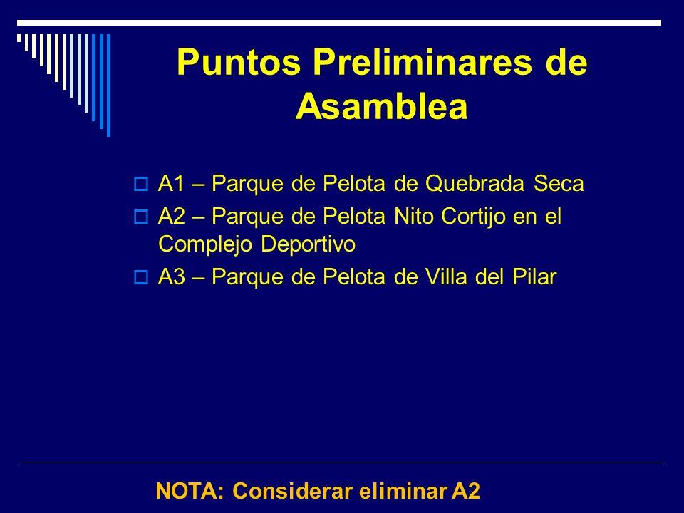 Puntos Preliminares de Asamblea A1 – Parque de Pelota de Quebrada Seca A2 – Parque de Pelota Nito Cortijo en el Complejo Deportivo A3 – Parque de Pelo