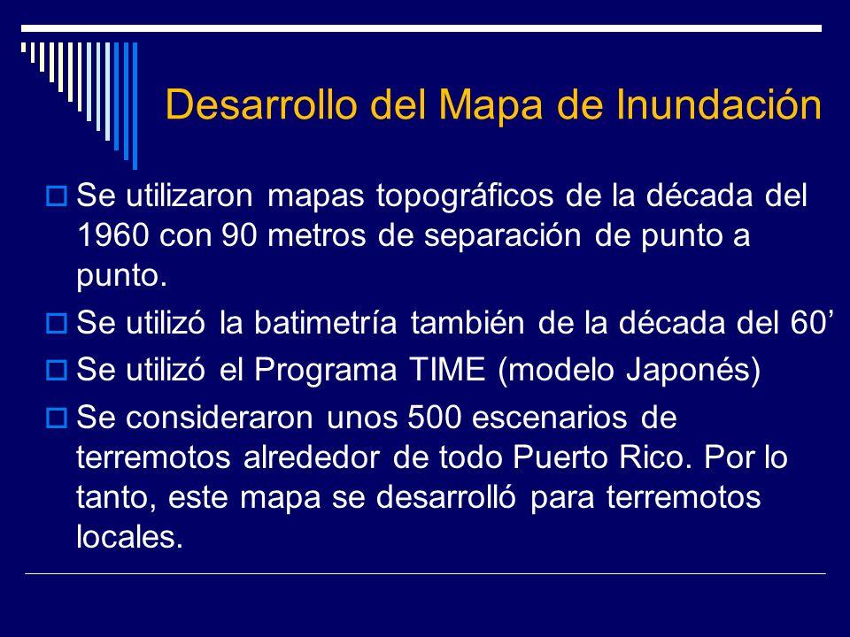 Desarrollo del Mapa de Inundación Se utilizaron mapas topográficos de la década del 1960 con 90 metros de separación de punto a punto. Se utilizó la b