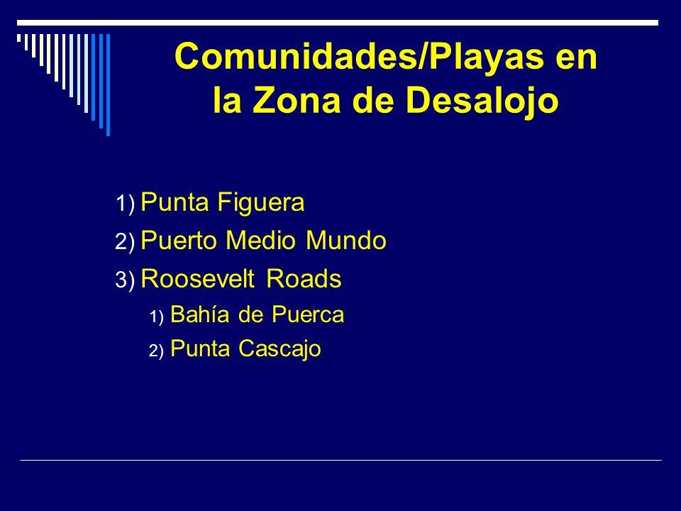 Comunidades/Playas en la Zona de Desalojo 1) Punta Figuera 2) Puerto Medio Mundo 3) Roosevelt Roads 1) Bahía de Puerca 2) Punta Cascajo
