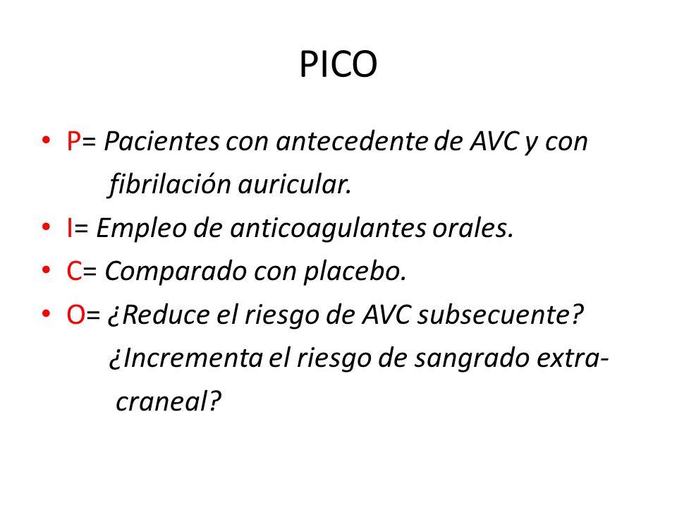 PICO P= Pacientes con antecedente de AVC y con fibrilación auricular.