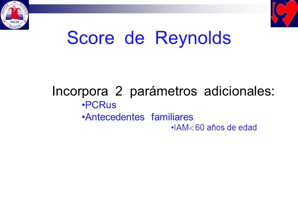 Score de Reynolds Incorpora 2 parámetros adicionales: PCRus Antecedentes familiares IAM 60 años de edad