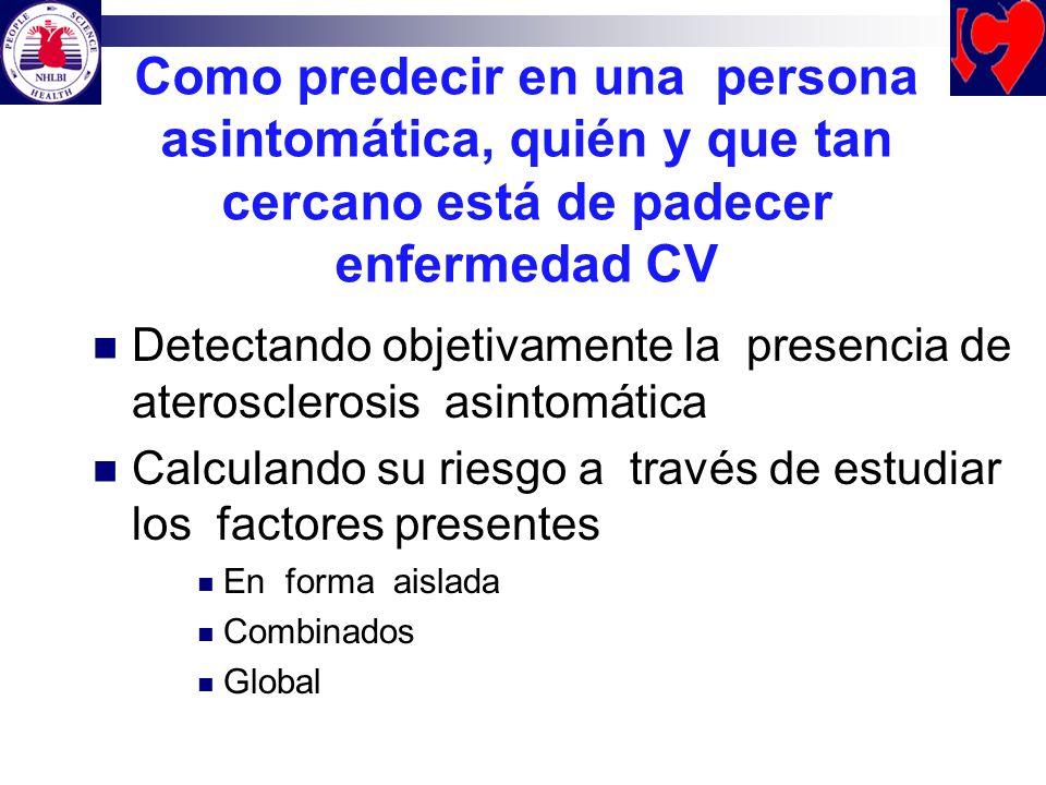 Como predecir en una persona asintomática, quién y que tan cercano está de padecer enfermedad CV Detectando objetivamente la presencia de ateroscleros