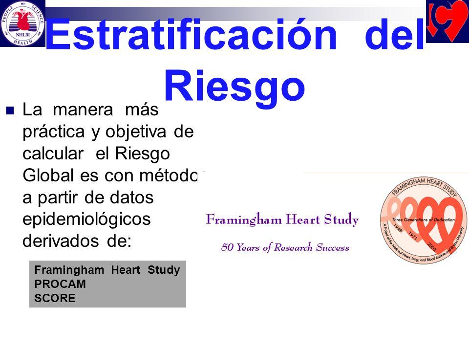 Estratificación del Riesgo La manera más práctica y objetiva de calcular el Riesgo Global es con métodos a partir de datos epidemiológicos derivados d