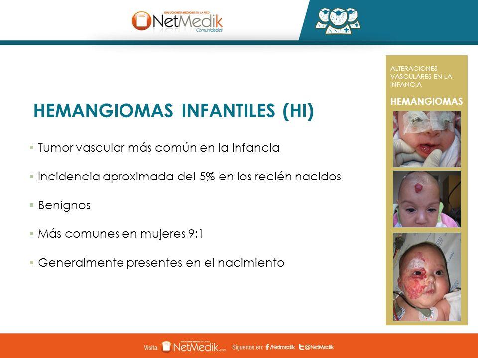 HEMANGIOMAS INFANTILES (HI) ALTERACIONES VASCULARES EN LA INFANCIA HEMANGIOMAS Tumor vascular más común en la infancia Incidencia aproximada del 5% en