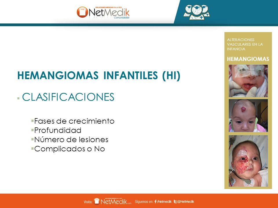 HEMANGIOMAS INFANTILES (HI) CLASIFICACIONES Fases de crecimiento Profundidad Número de lesiones Complicados o No ALTERACIONES VASCULARES EN LA INFANCI